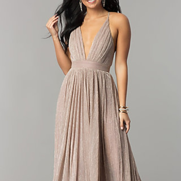 Simply Dresses Dresses | Deep Vneck Metallic Crepe Prom Dress | Poshmark